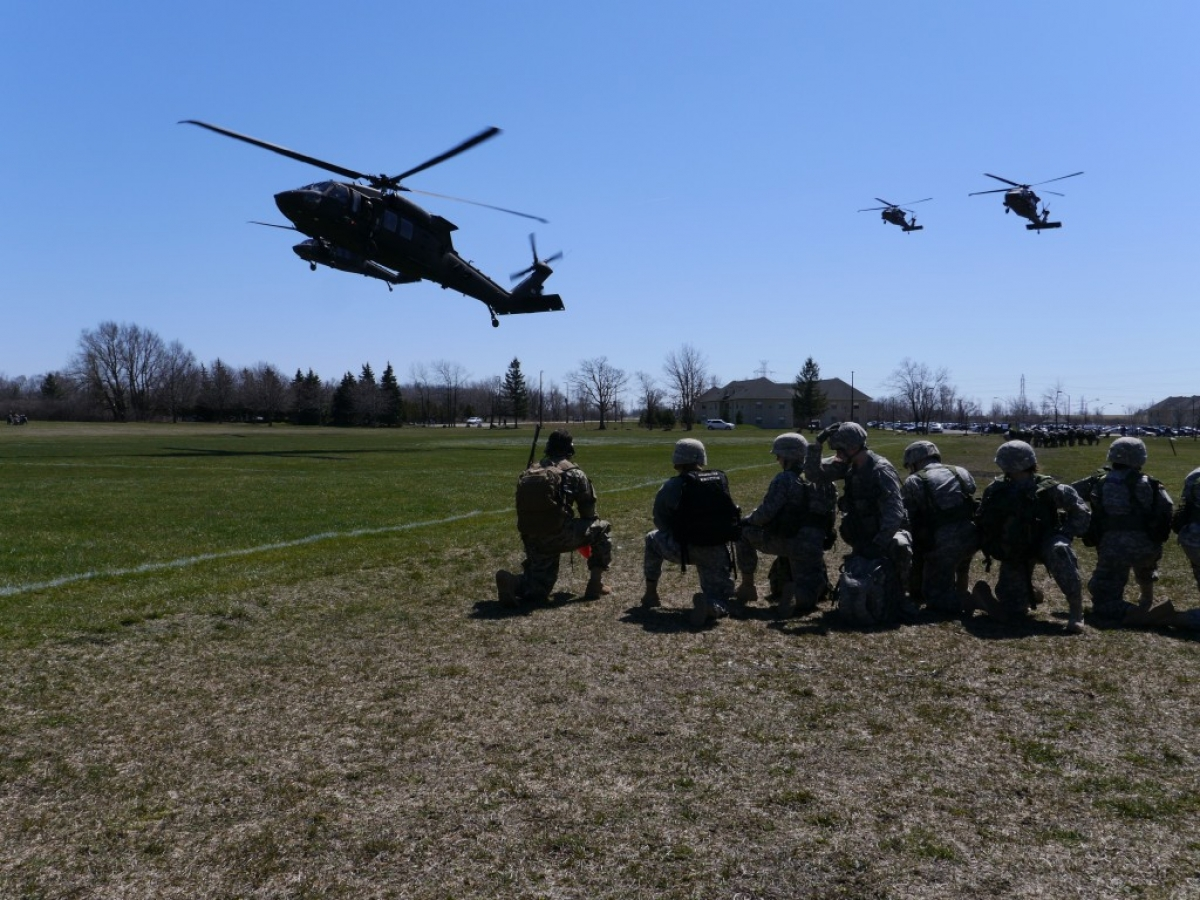 Army Helicopters Land At NU To Transfer ROTC Cadets To Fort