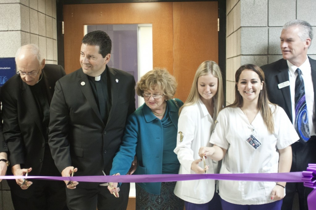 f04ec88b505 Niagara University formally cut the ribbon on a new Nursing Simulation  Center on Oct. 10. Pictured, l-r, are the Rev. Joseph L. Levesque, C.M., ...